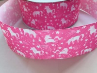 "2"" Pink Unicorn Grosgrain Ribbon"