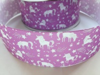 "2"" Purple Unicorn Grosgrain Ribbon"
