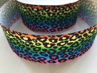 "2"" Rainbow Leopard Print 2 Grosgrain Ribbon"