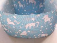 "3"" Blue Unicorn Grosgrain Ribbon"