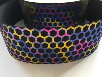 "3"" Foil Honeycomb on Black Grosgrain Ribbon"