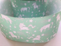 "3"" Green Unicorn Grosgrain Ribbon"