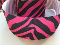 "3"" Pink/Black Zebra Print Grosgrain Ribbon"