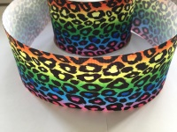 "3"" Rainbow Leopard Print 2 Grosgrain Ribbon"