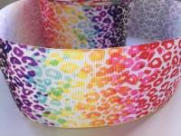 "3"" Rainbow Leopard Print Grosgrain Ribbon"