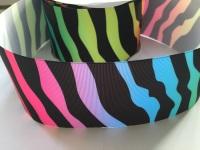 "3"" Rainbow Zebra Print Grosgrain Ribbon"