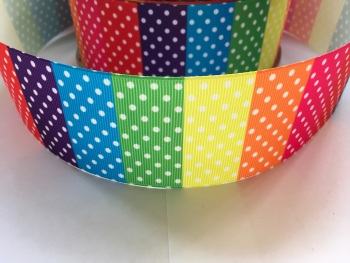 "2"" Rainbow Dots Grosgrain Ribbon"