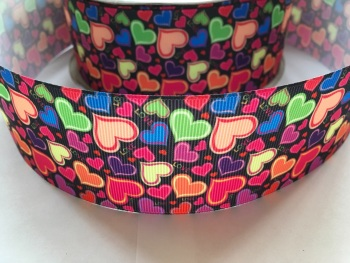 "2"" Colourful Hearts Grosgrain Ribbon"
