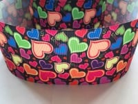 "3"" Colourful Hearts Grosgrain Ribbon"