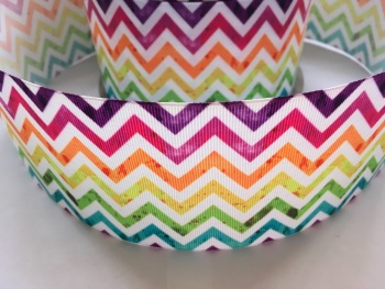 "3"" Rainbow Zig Zag Grosgrain Ribbon"