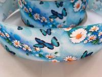"2"" Blue Butterfly Floral Grosgrain Ribbon"