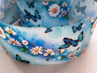 "3"" Blue Butterfly Floral Grosgrain Ribbon"