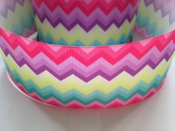 "3"" Colourful Zig Zag Grosgrain Ribbon"