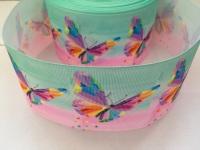 Butterfly on Pink/Aqua Grosgrain Ribbon