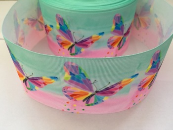 Butterfly on Pink/Aqua Grosgrain Ribbon