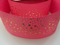 "3"" Gold Dots on Hot Pink Grosgrain Ribbon"