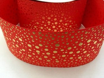 "3"" Gold Dots on Poppy Red Grosgrain Ribbon"