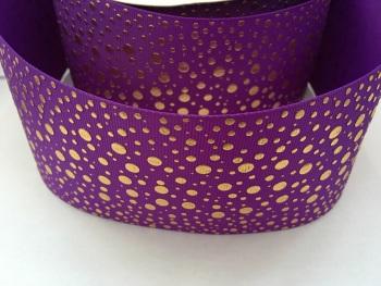"3"" Gold Dots on Purple Grosgrain Ribbon"
