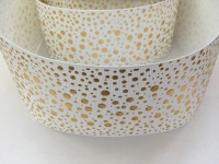 "3"" Gold Dots on White Grosgrain Ribbon"