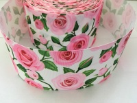 Pink Roses on White Grosgrain Ribbon