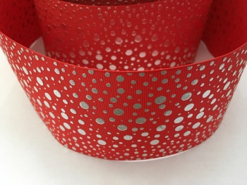 "3"" Silver Dots on Red Grosgrain Ribbon"