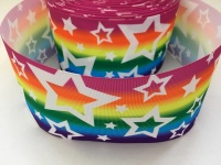White Stars on Rainbow Grosgrain Ribbon