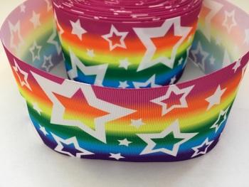 White Stars on Rainbow Grosgrain Ribbon
