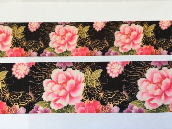 Black Butterfly Floral Grosgrain Ribbon
