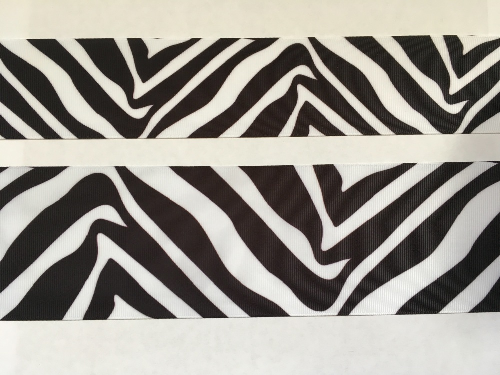 Black/White Zebra Print Grosgrain Ribbon