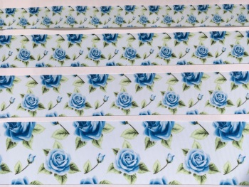 Blue Floral Grosgrain Ribbon
