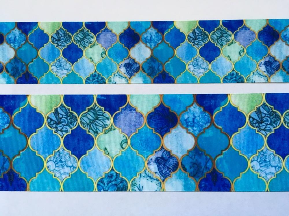 Blue Pattern Grosgrain Ribbon