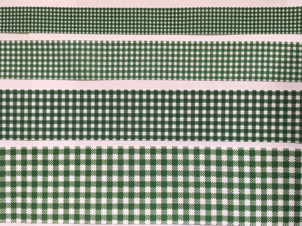 Forest Green Check Grosgrain Ribbon