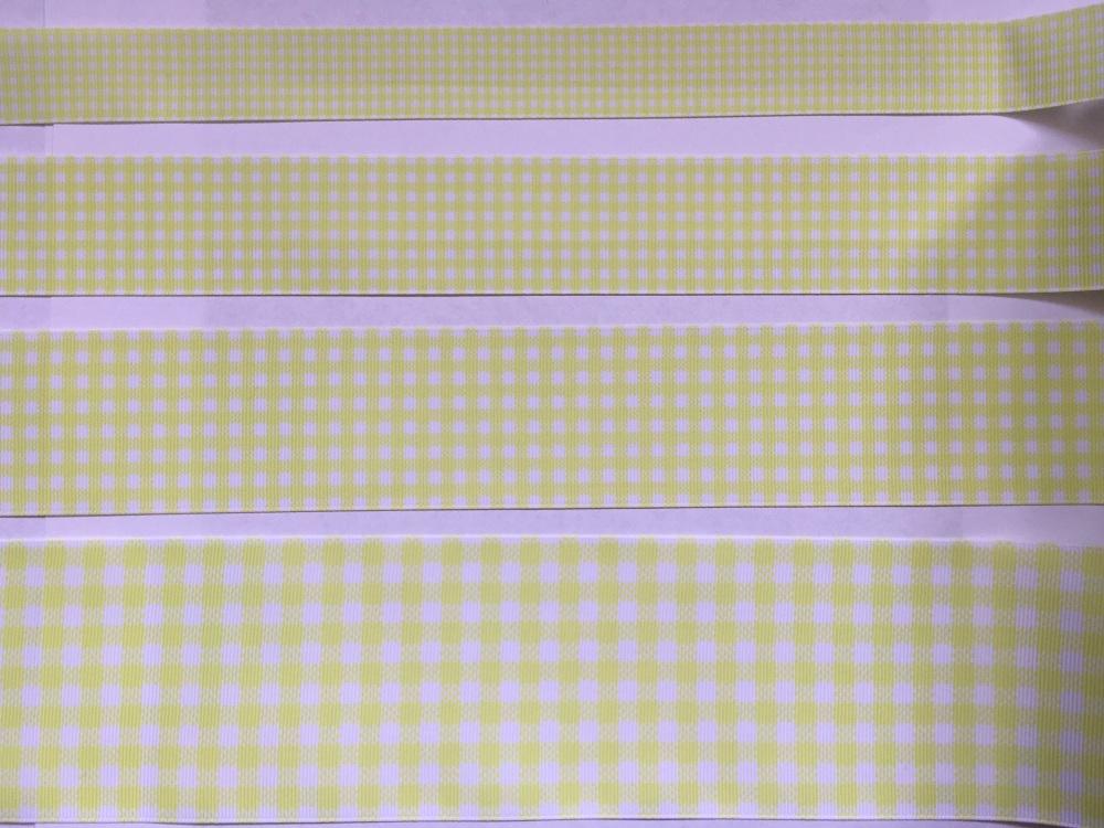 Lemon Check Grosgrain Ribbon