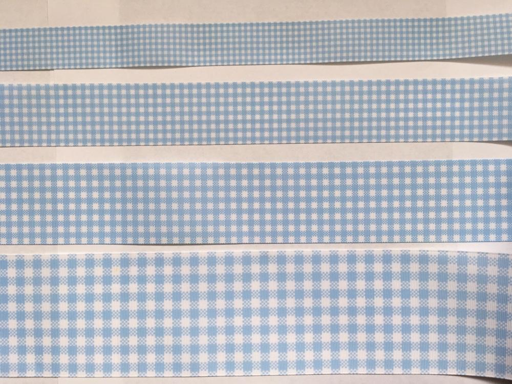 Light Blue Check Grosgrain Ribbon