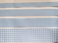 Light Blue Gingham Check Grosgrain Ribbon