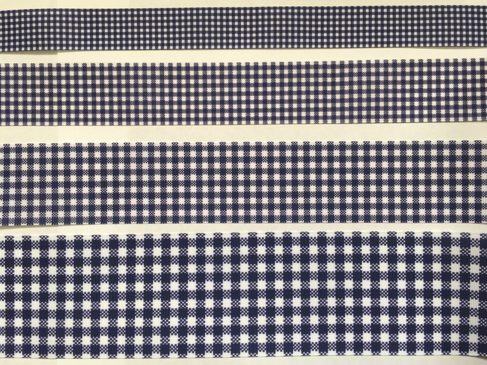 Navy Check Grosgrain Ribbon