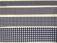 Navy Gingham Check Grosgrain Ribbon