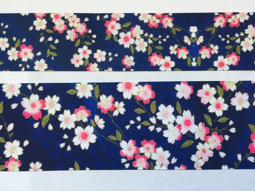 Navy Floral Grosgrain Ribbon