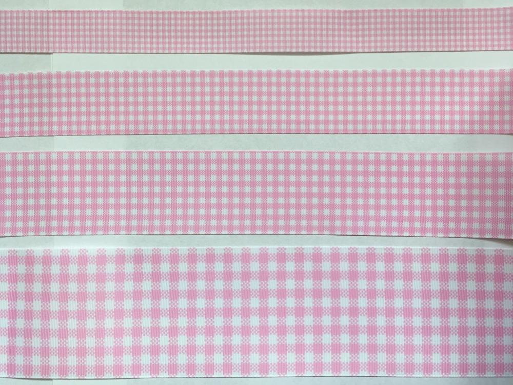 Pearl Pink Check Grosgrain Ribbon