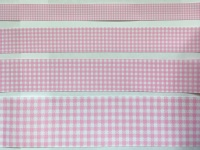 Pearl Pink Gingham Check Grosgrain Ribbon