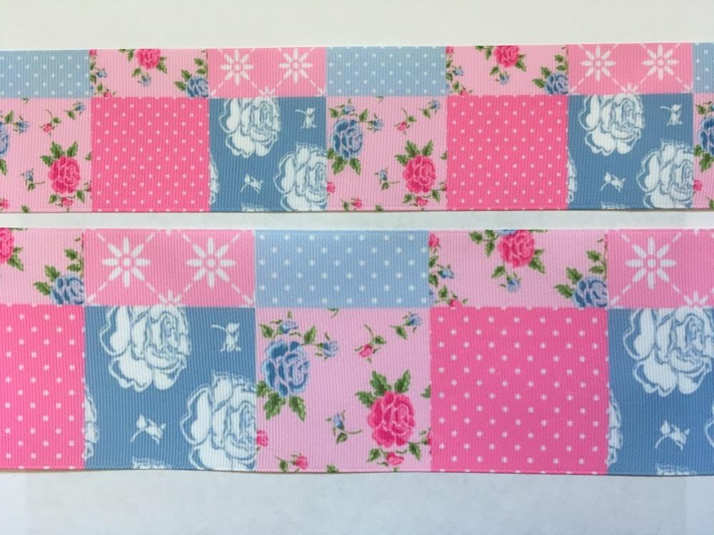 Pink/Blue Pattern Grosgrain Ribbon