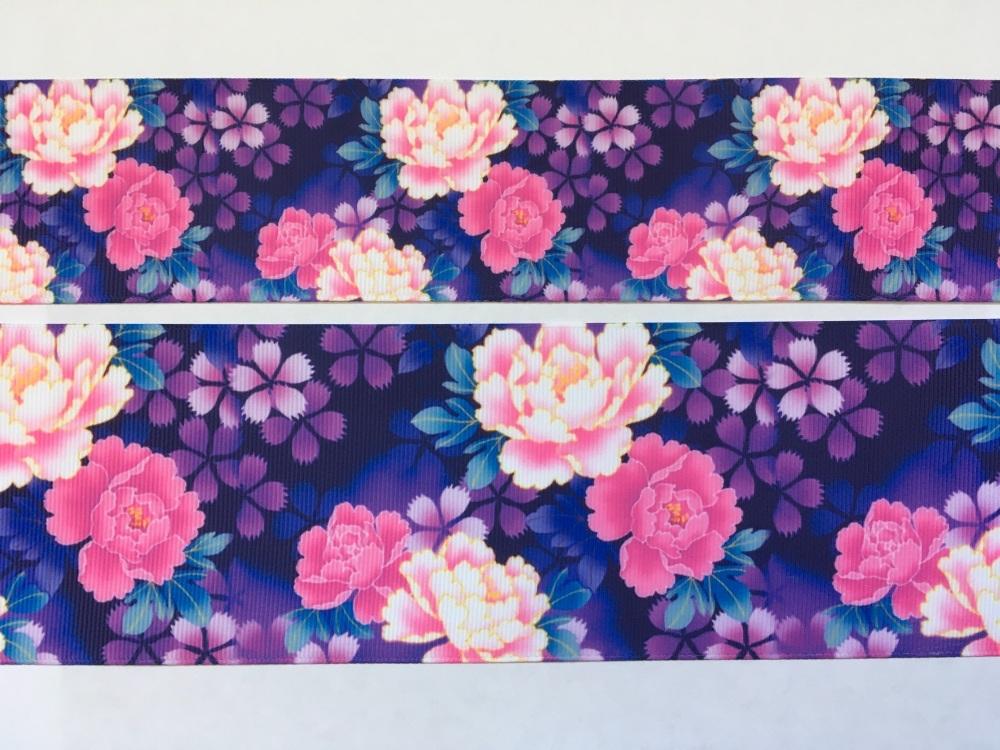 Purple Floral Grosgrain Ribbon