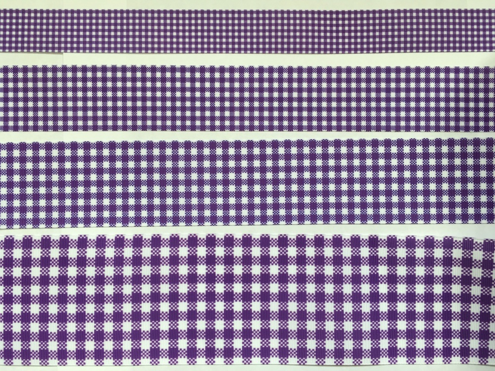 Regal Purple Check Grosgrain Ribbon