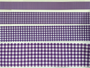 Purple Gingham Check Grosgrain Ribbon
