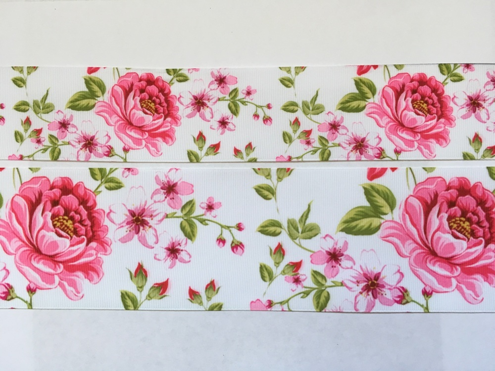 White Floral Grosgrain Ribbon
