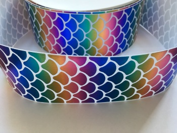 "3"" Rainbow Foil Mermaid Scale On White Grosgrain Ribbon"