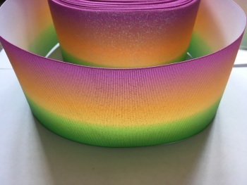"3"" Glitter Pink/Orange/Green Ombre Grosgrain Ribbon"