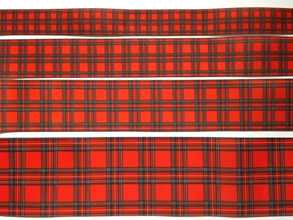 NEW Red Tartan Grosgrain Ribbon