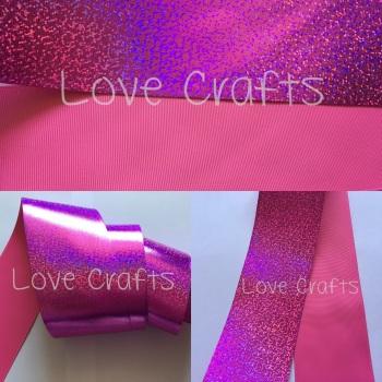 "3"" Hot Pink Shizzle on Hot Pink Grosgain Ribbon"