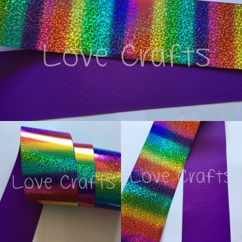 "3"" Rainbow Shizzle on Purple Grosgain Ribbon"